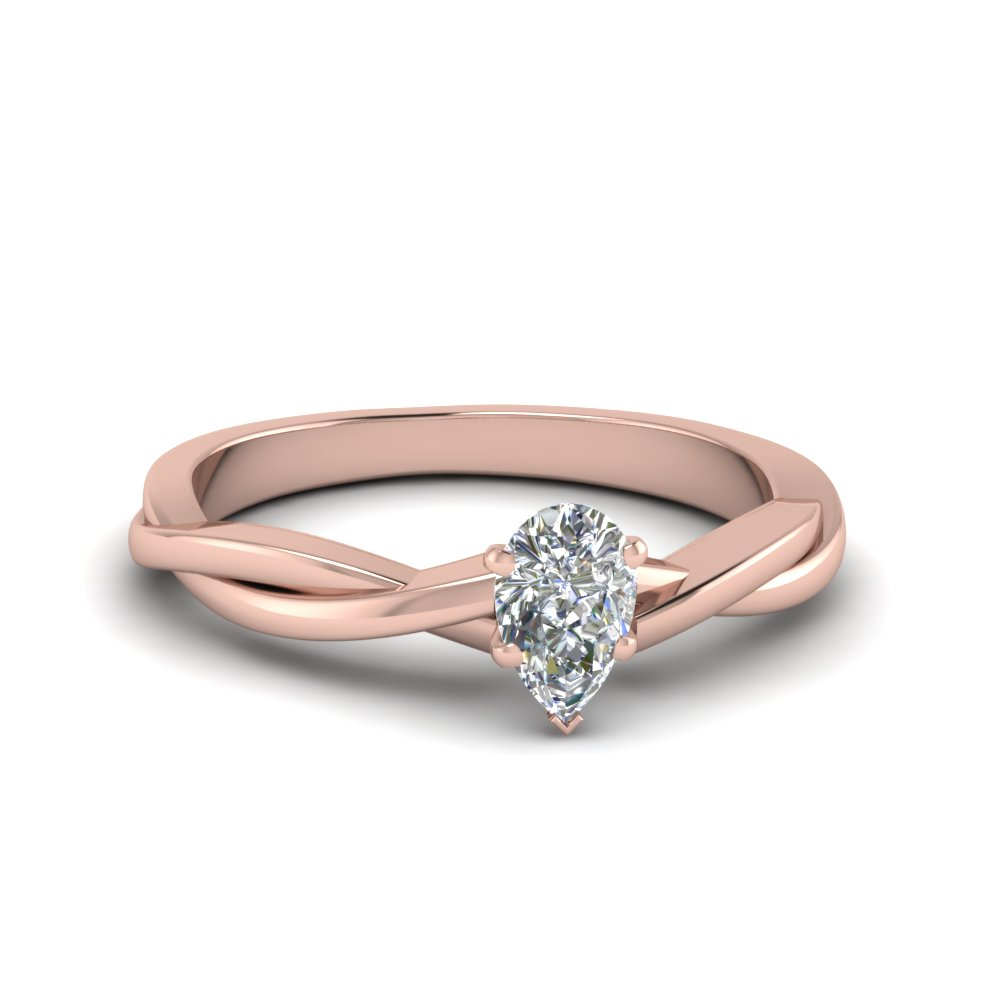 Pear Shaped Braided Single Diamond Engagement Ring In Fd8252per Nl Rg