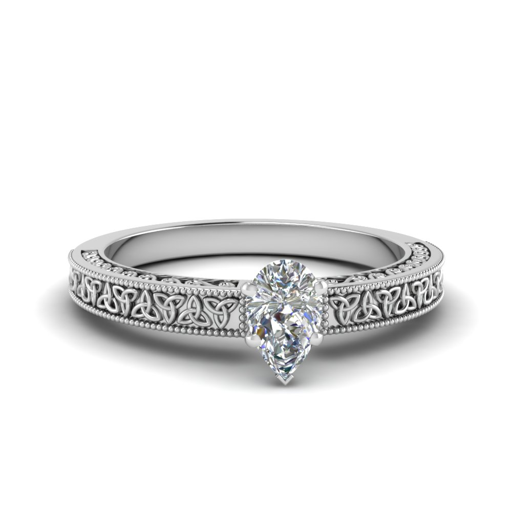 celtic engraved pear solitaire engagement ring in FD8544PER NL WG