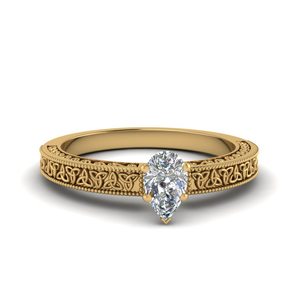 celtic engraved pear solitaire engagement ring in FD8544PER NL YG