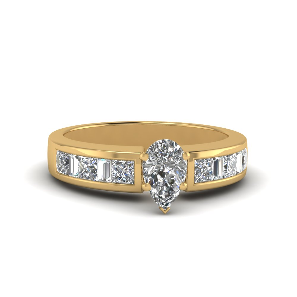 pear shaped channel baguette and princess accent diamond engagement ring in FDENS350PER NL YG