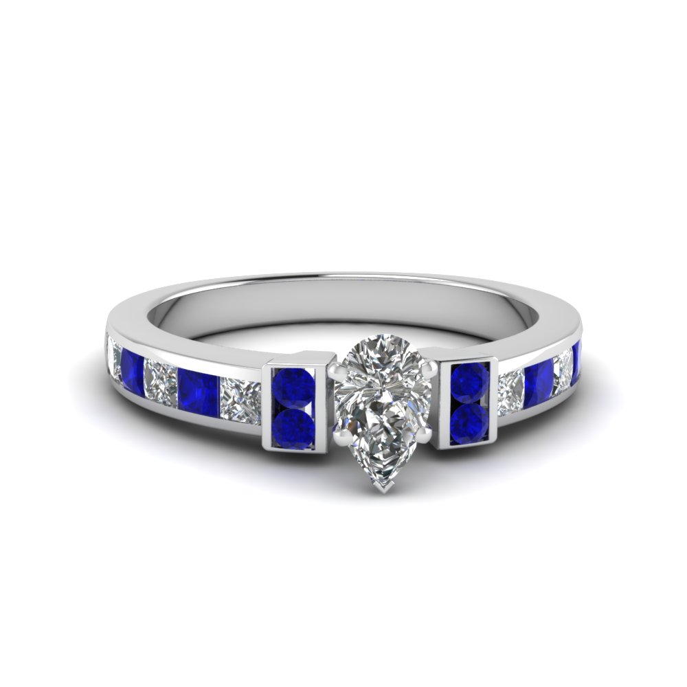 pear shaped channel bar set diamond engagement ring for women with blue sapphire in FDENR989PERGSABL NL WG