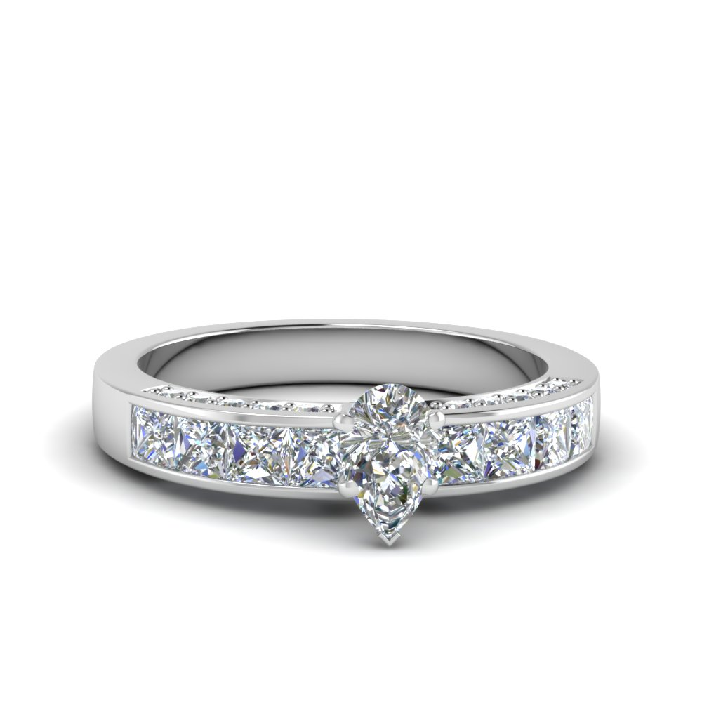 Pave Pear Channel Diamond Ring