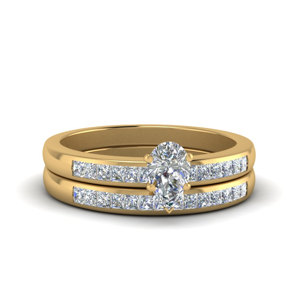 Pear Shaped Channel Princess Cut Diamond Wedding Set In 14K Yellow ...