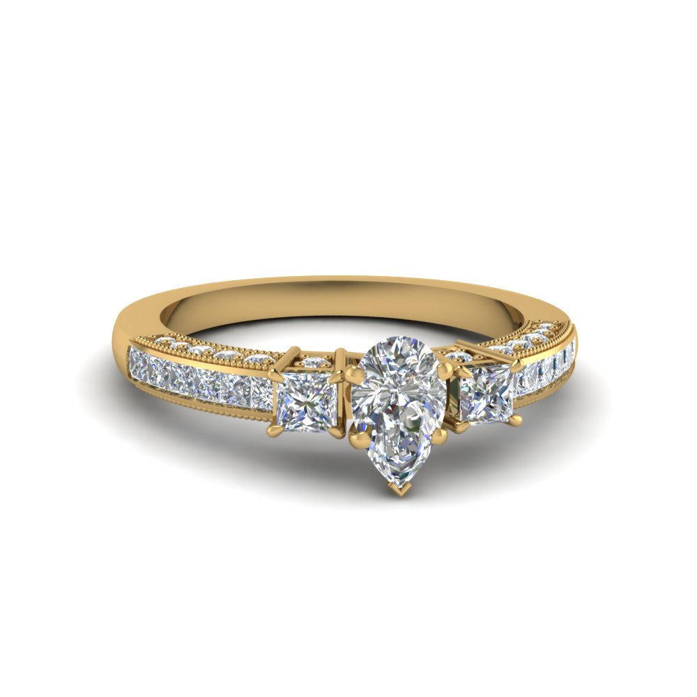 Pear Diamond Milgrain Engagement Ring