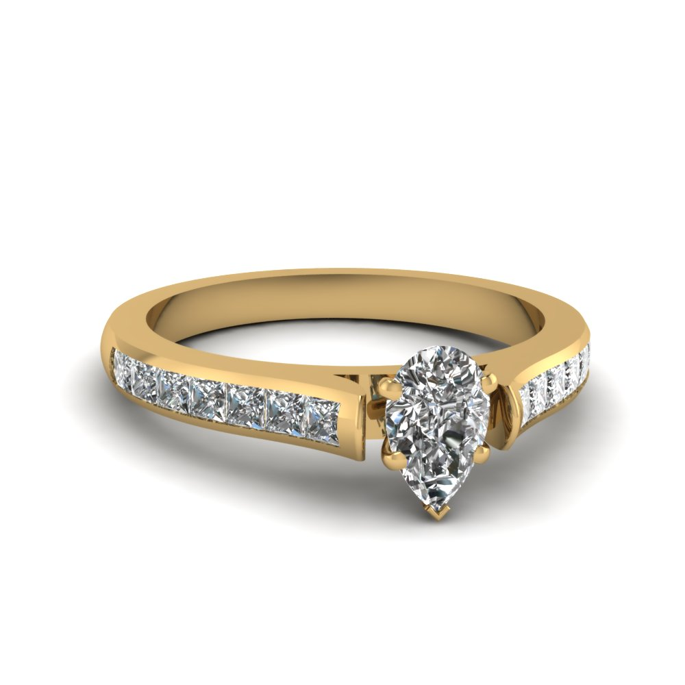 pear shaped cathedral channel set diamond engagement ring in FDENS877PER NL YG 30