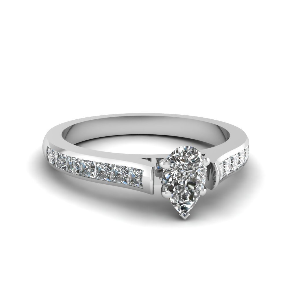 Platinum Pear Shaped Engagement with Princess Side Stones
