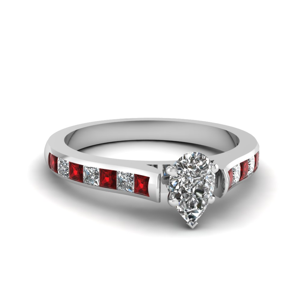 pear shaped cathedral channel set diamond engagement ring with ruby in 14K white gold FDENS877PERGRUDR NL WG 30