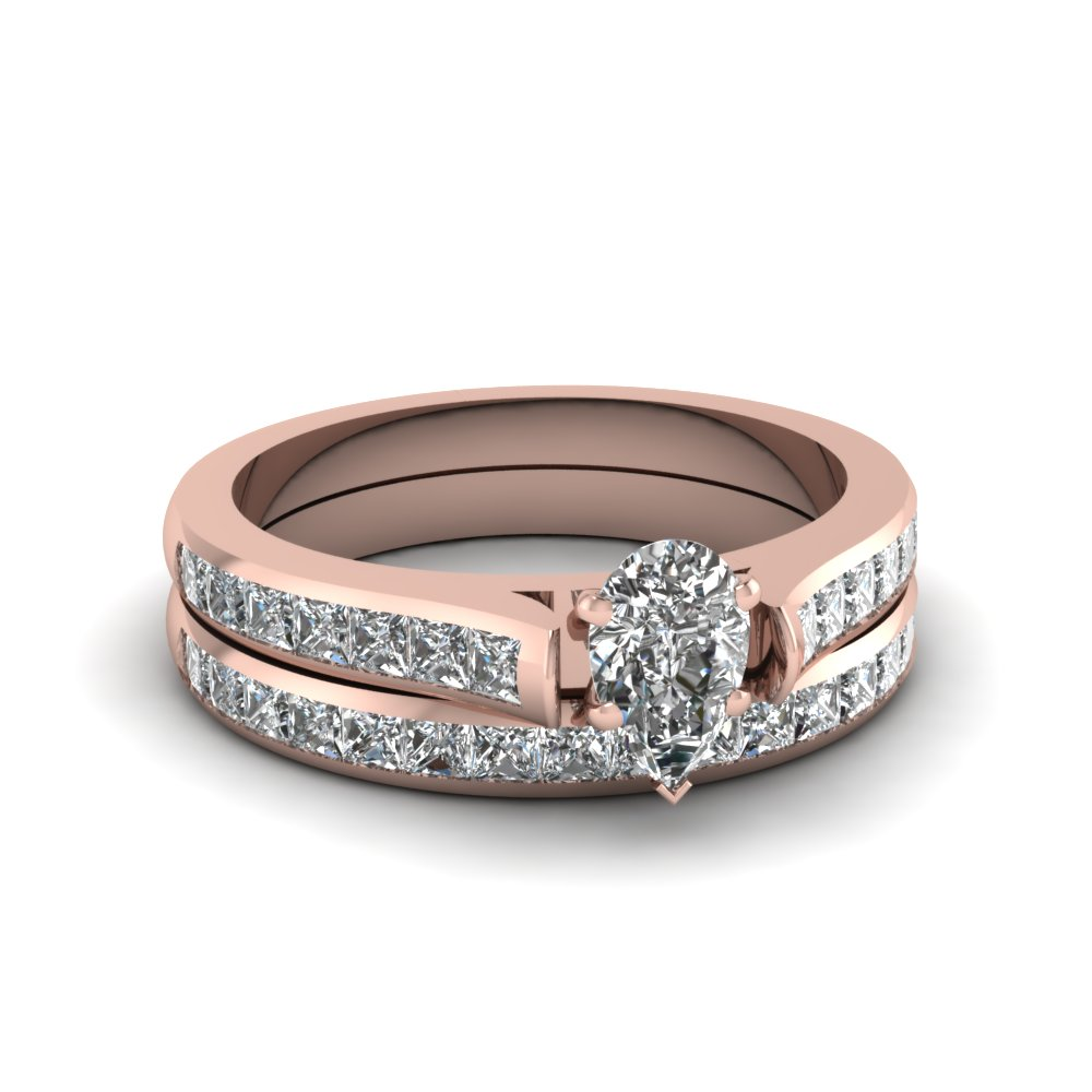 pear shaped channel set diamond wedding ring sets in 18K rose gold FDENS877PE NL RG 30