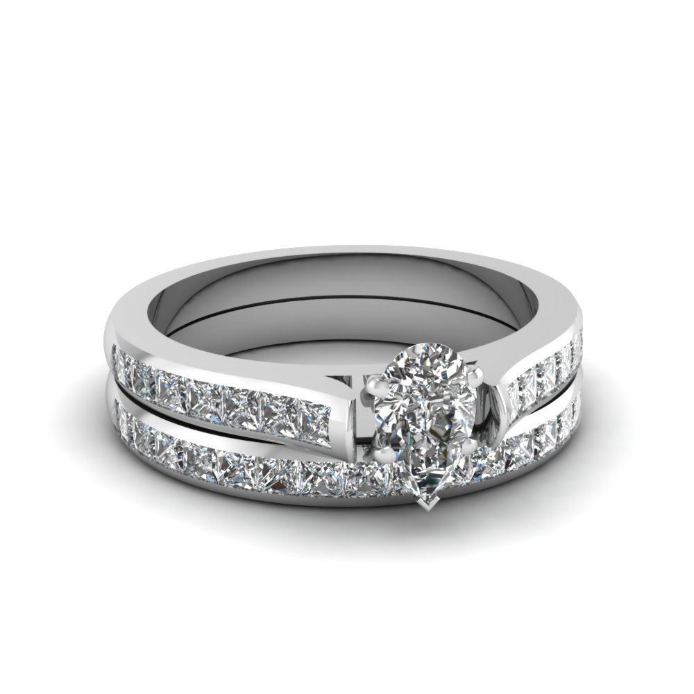 pear shaped channel set diamond wedding ring sets in 18K white gold FDENS877PE NL WG 30