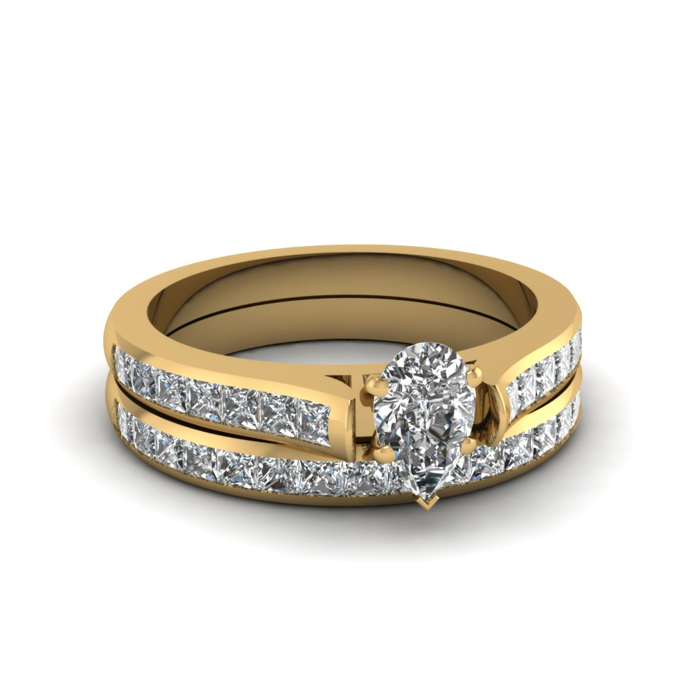 pear shaped channel set diamond wedding ring sets in 18K yellow gold FDENS877PE NL YG 30
