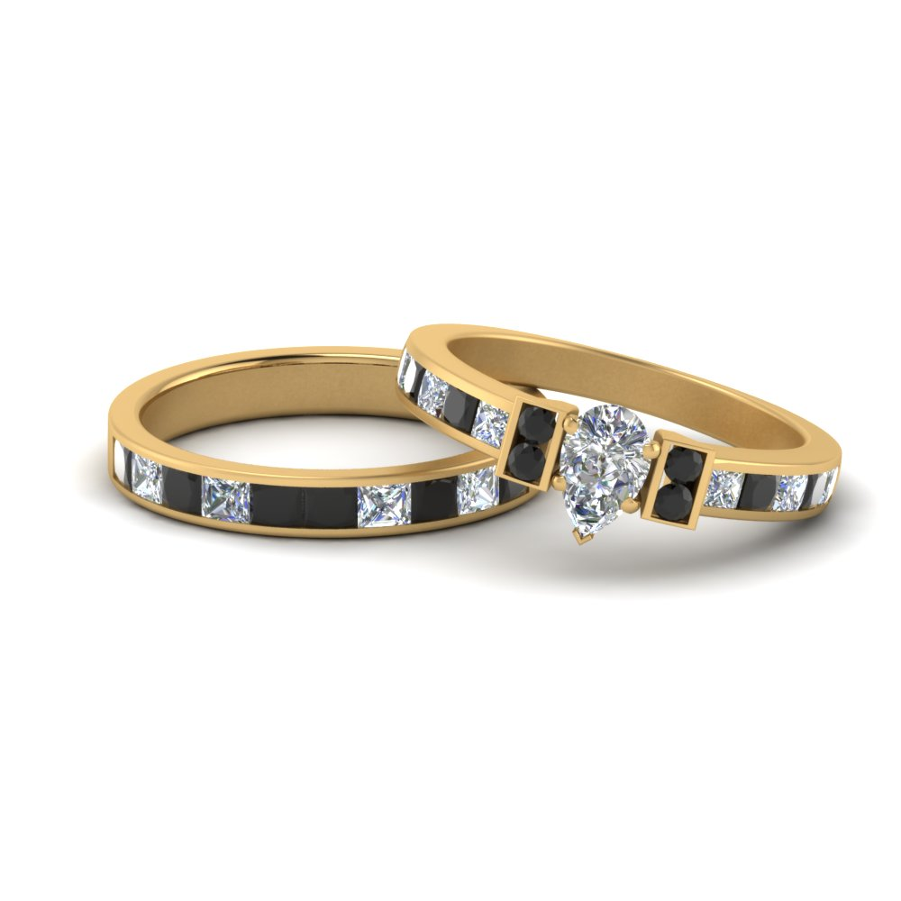 Pear Shaped Classic Women Wedding Ring Set With Black Diamond In 14k