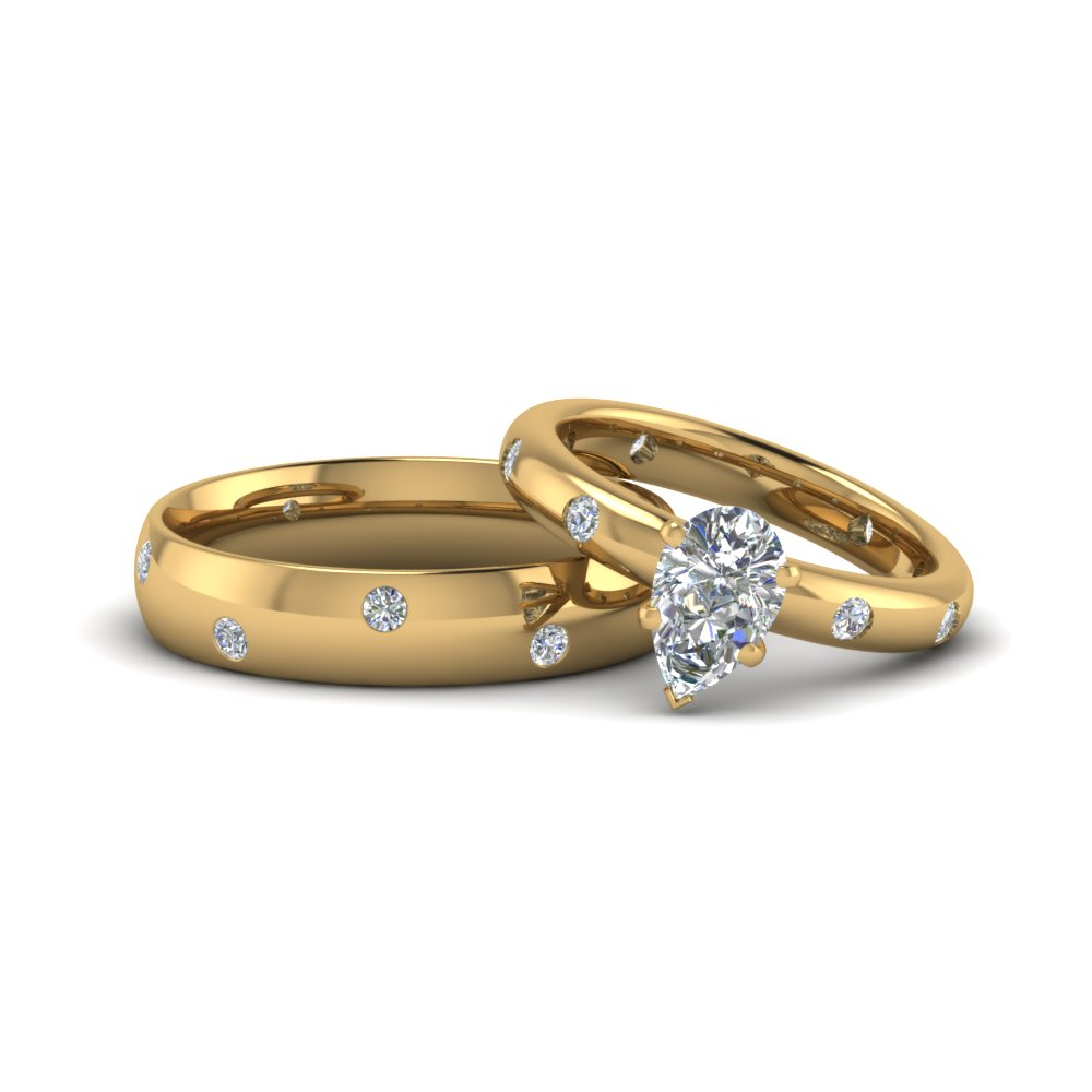 pear diamond wedding anniversary ring gifts for him and her in FD8155B NL YG