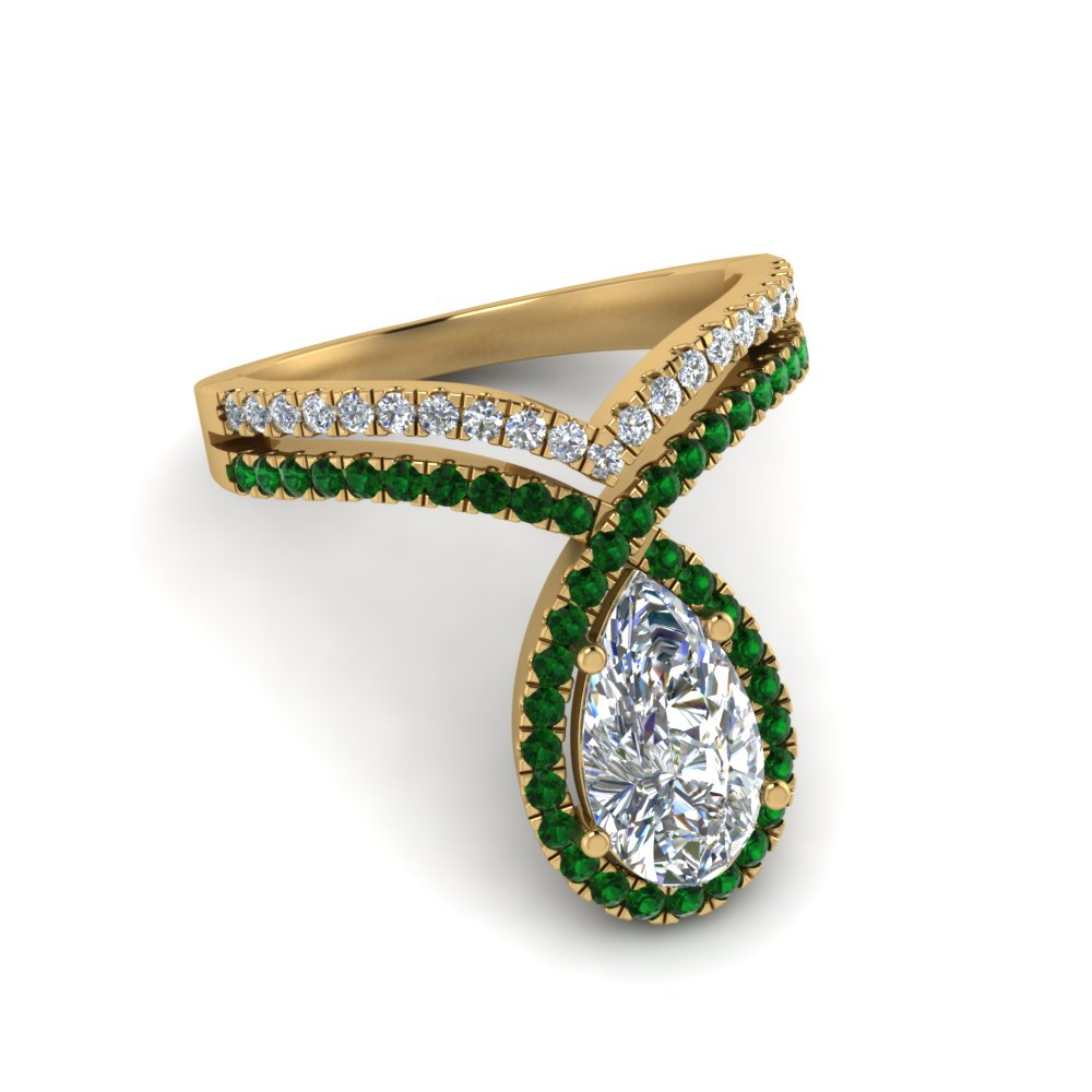 pear shaped curve halo diamond engagement ring with emerald in yellow gold FD9144PERGEMGRANGLE1 NL YG