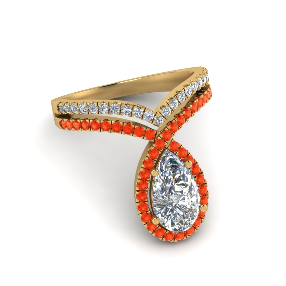 pear shaped curve halo diamond engagement ring with orange topaz in yellow gold FD9144PERGPOTOANGLE1 NL YG