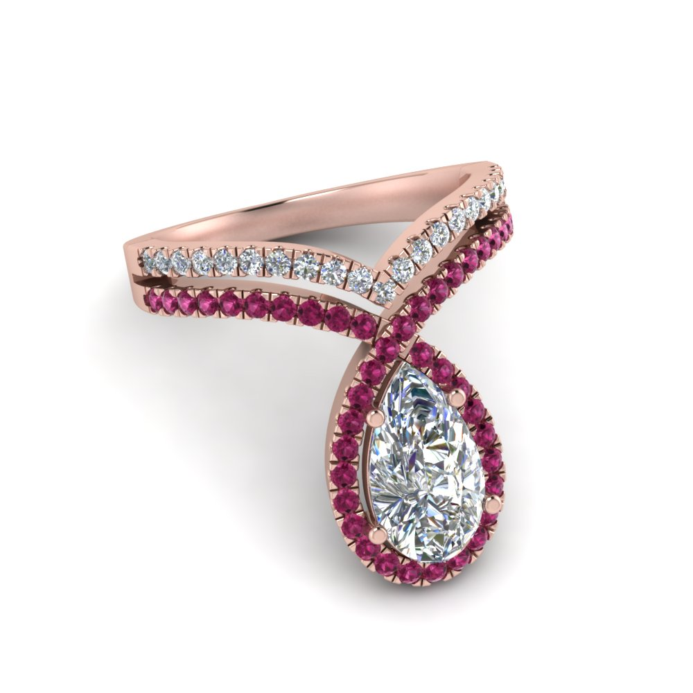pear shaped curve halo diamond engagement ring with pink sapphire in rose gold FD9144PERGSADRPIANGLE1 NL RG
