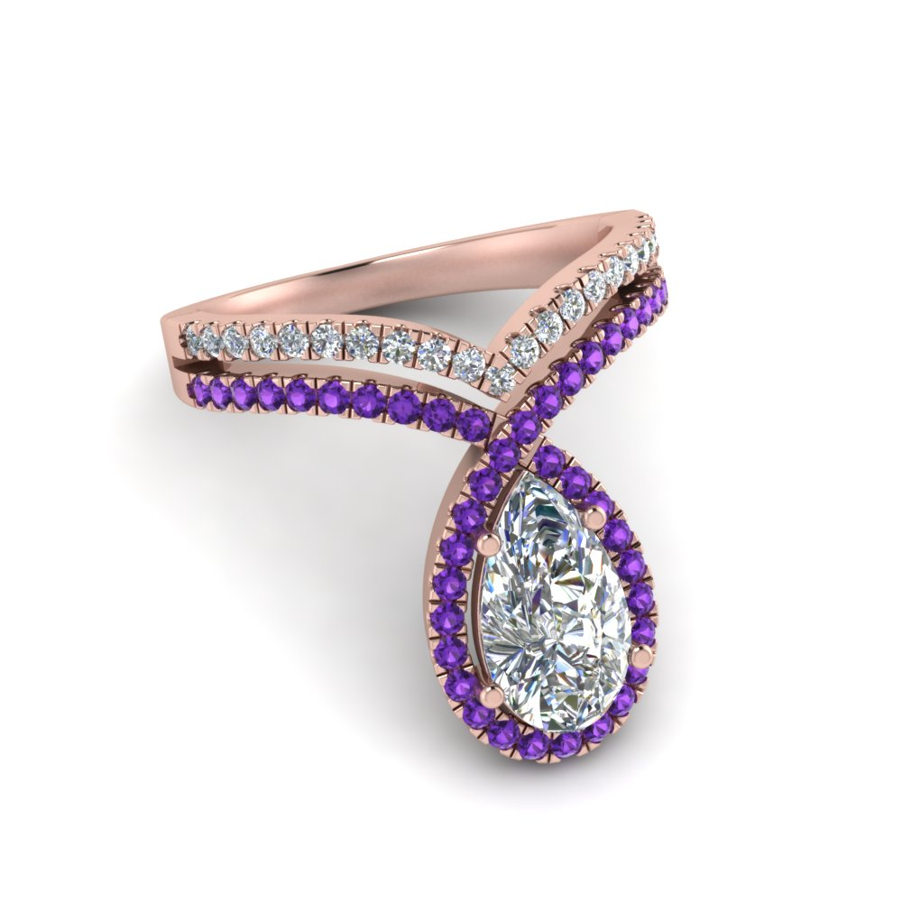 pear shaped curve halo moissanite engagement ring with violet topaz in rose gold FD9144PERGVITOANGLE1 NL RG