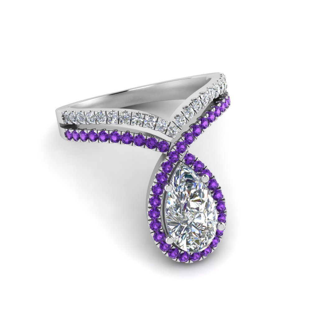 pear shaped curve halo diamond engagement ring with violet topaz in white gold FD9144PERGVITOANGLE1 NL WG