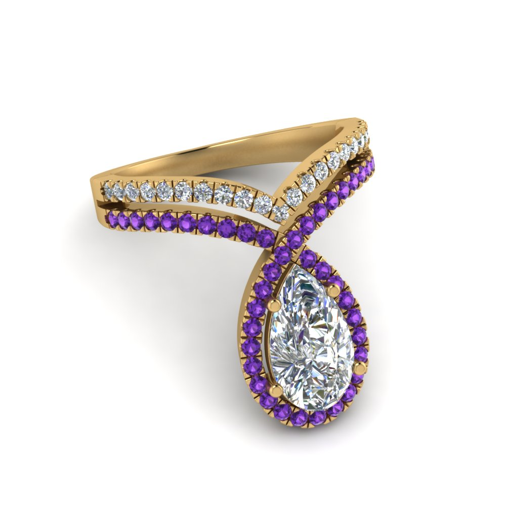 pear shaped curve halo diamond engagement ring with violet topaz in yellow gold FD9144PERGVITOANGLE1 NL YG
