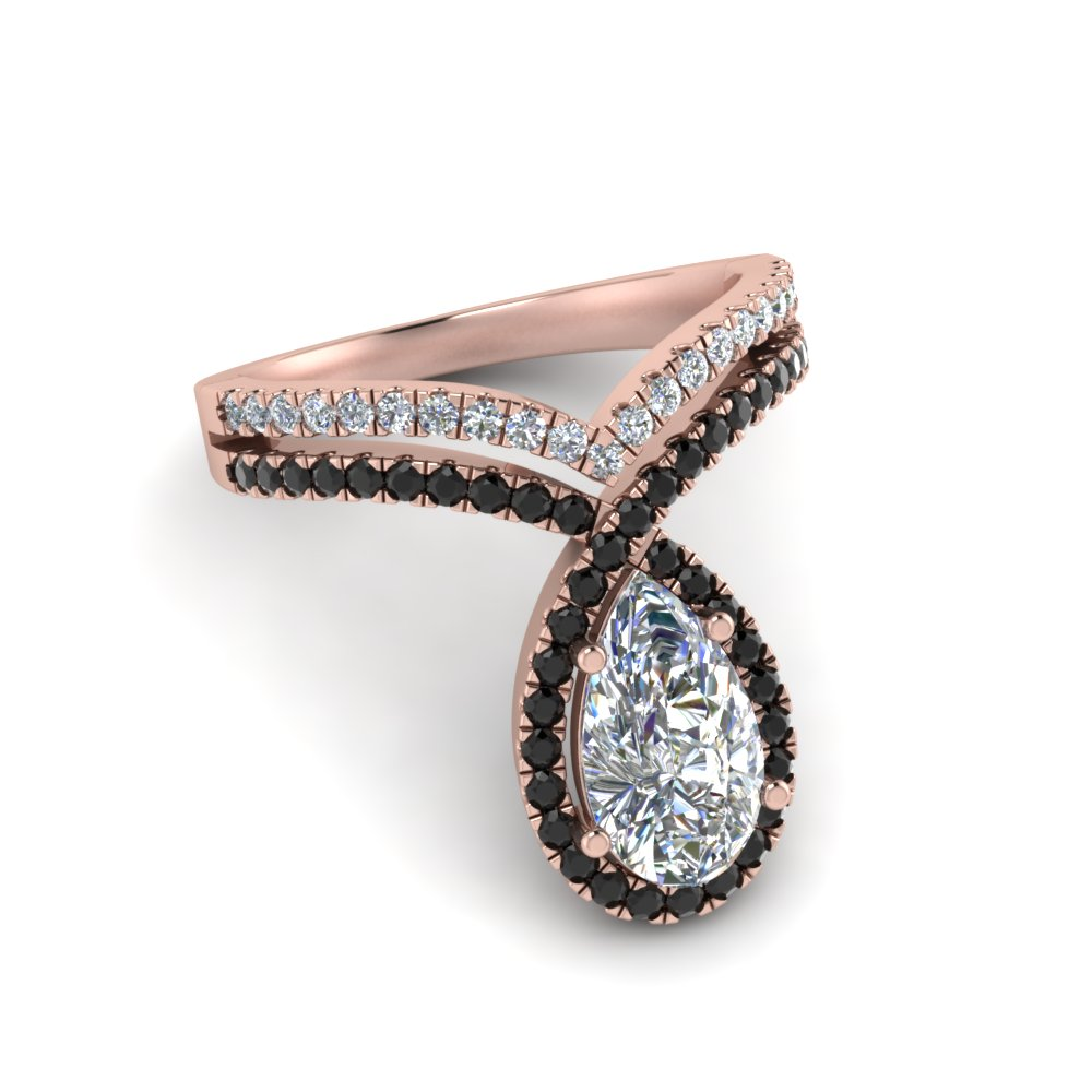 pear shaped curve halo engagement ring with black diamond in rose gold FD9144PERGBLACKANGLE1 NL RG