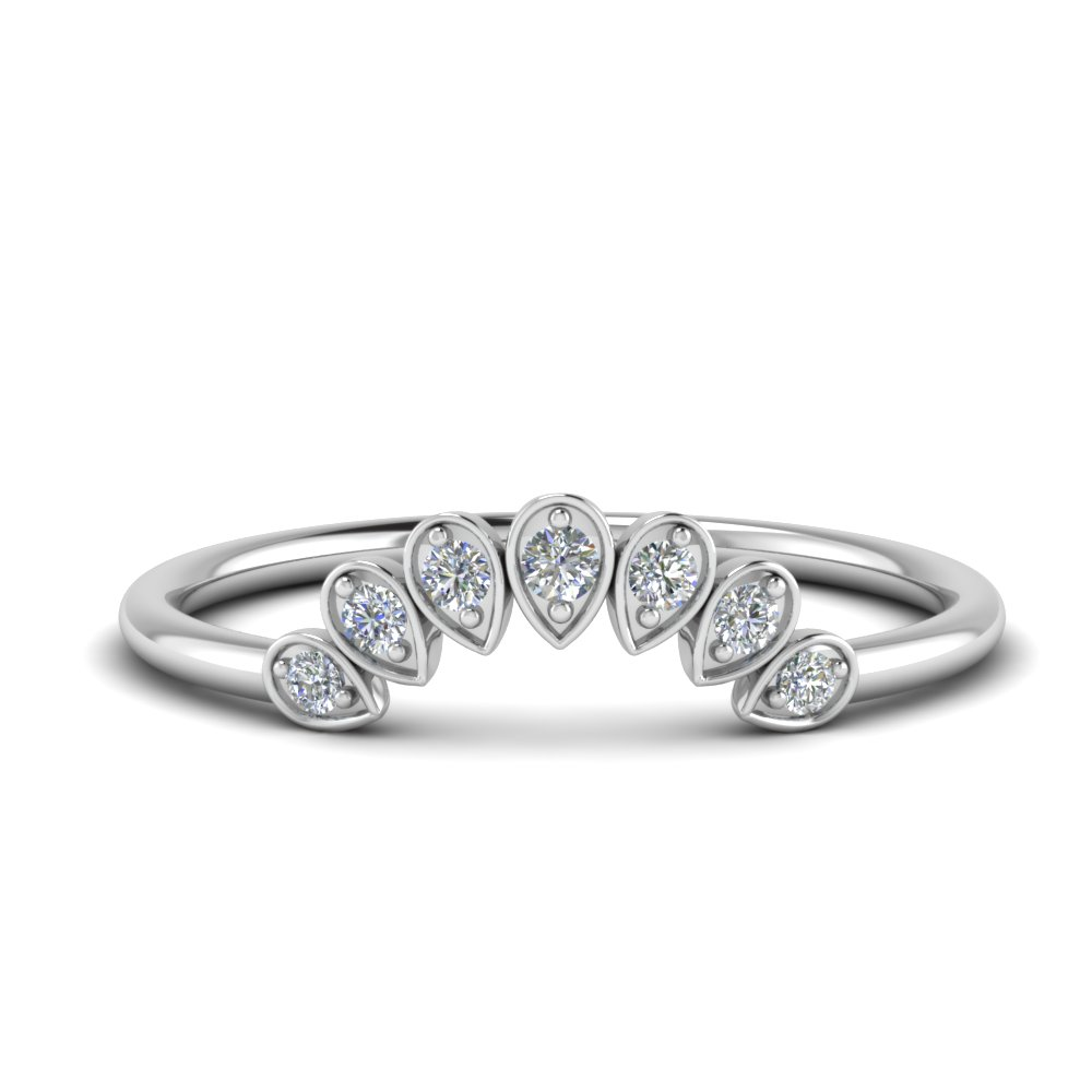 pear shaped curved diamond wedding band in 14K white gold FD123384B NL WG