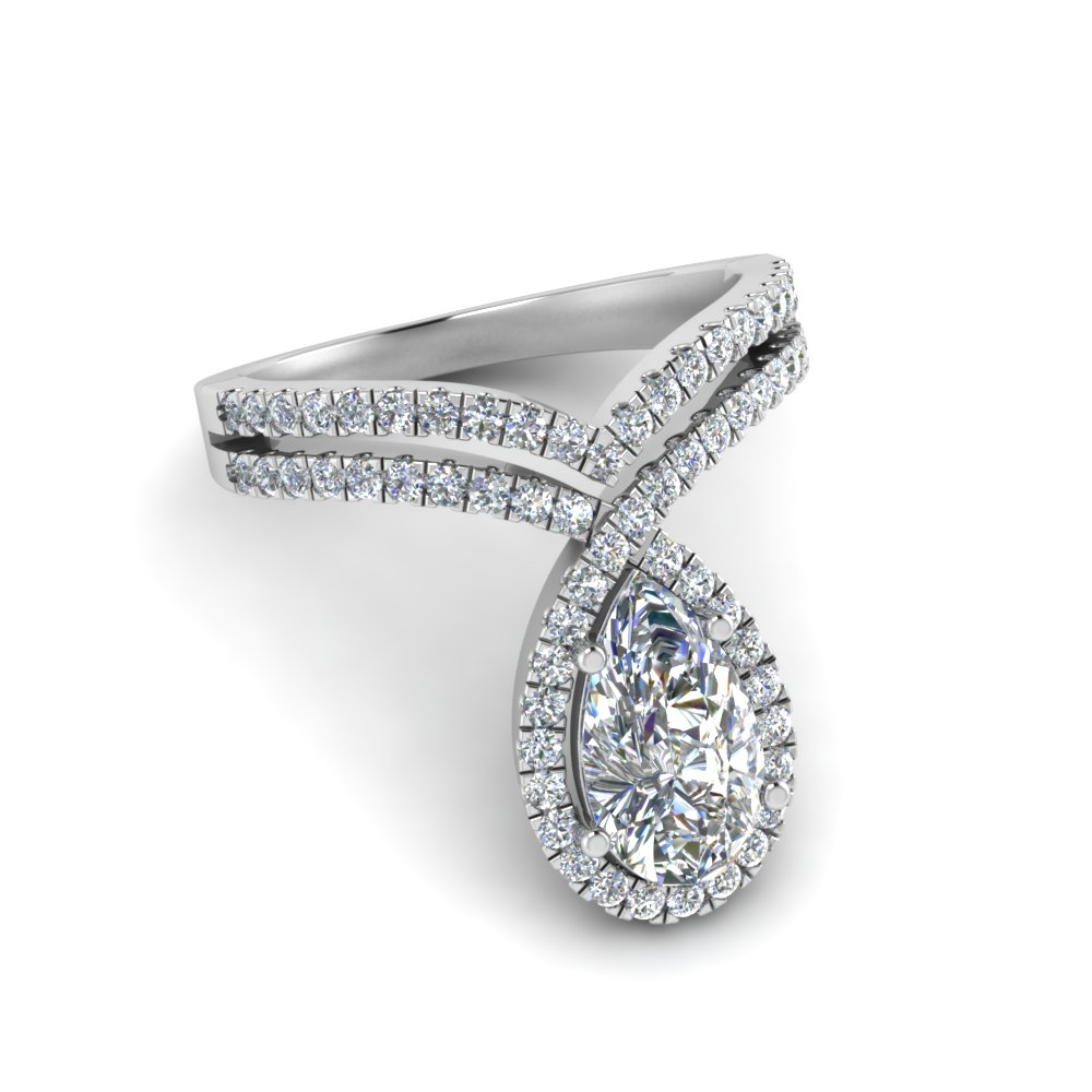 Pear Diamond Curved Halo Ring
