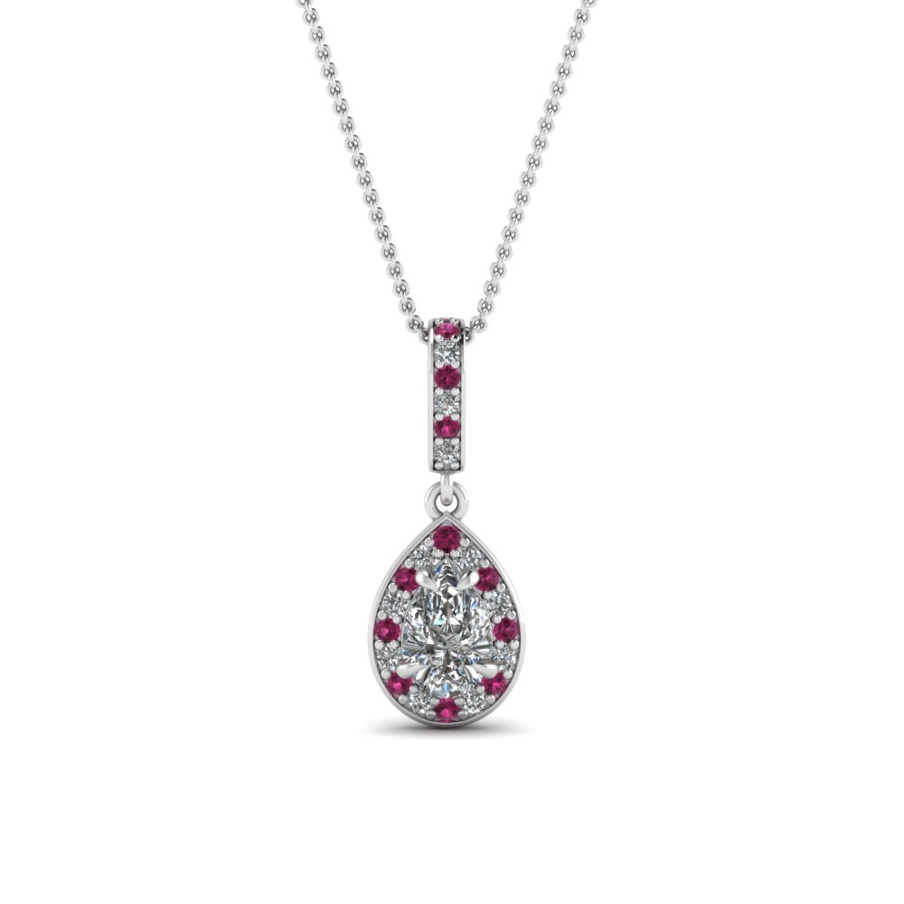 pear halo diamond drop pendant with pink sapphire in FDPD85656PEGSADRPI NL WG