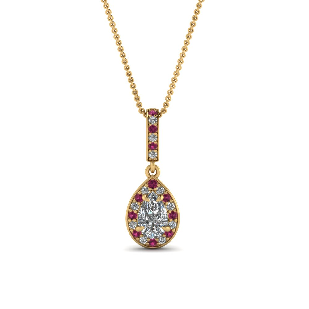 pear halo diamond drop pendant with pink sapphire in FDPD85656PEGSADRPI NL YG