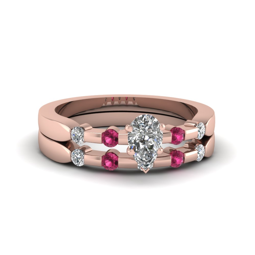 pear shaped delicate diamond wedding ring set with pink sapphire in FDENS3063PEGSADRPI NL RG