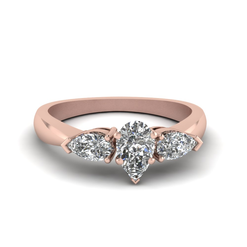 Pear Shaped Diamond 3 Stone Engagement Rings With White Diamond In 14k Rose  Gold