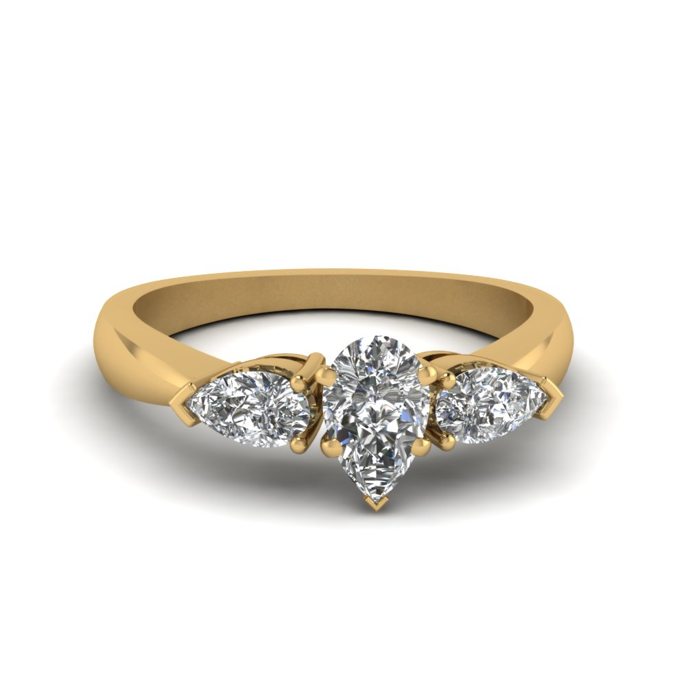 pear shaped diamond 3 stone engagement ring in FDENR1603PER NL YG