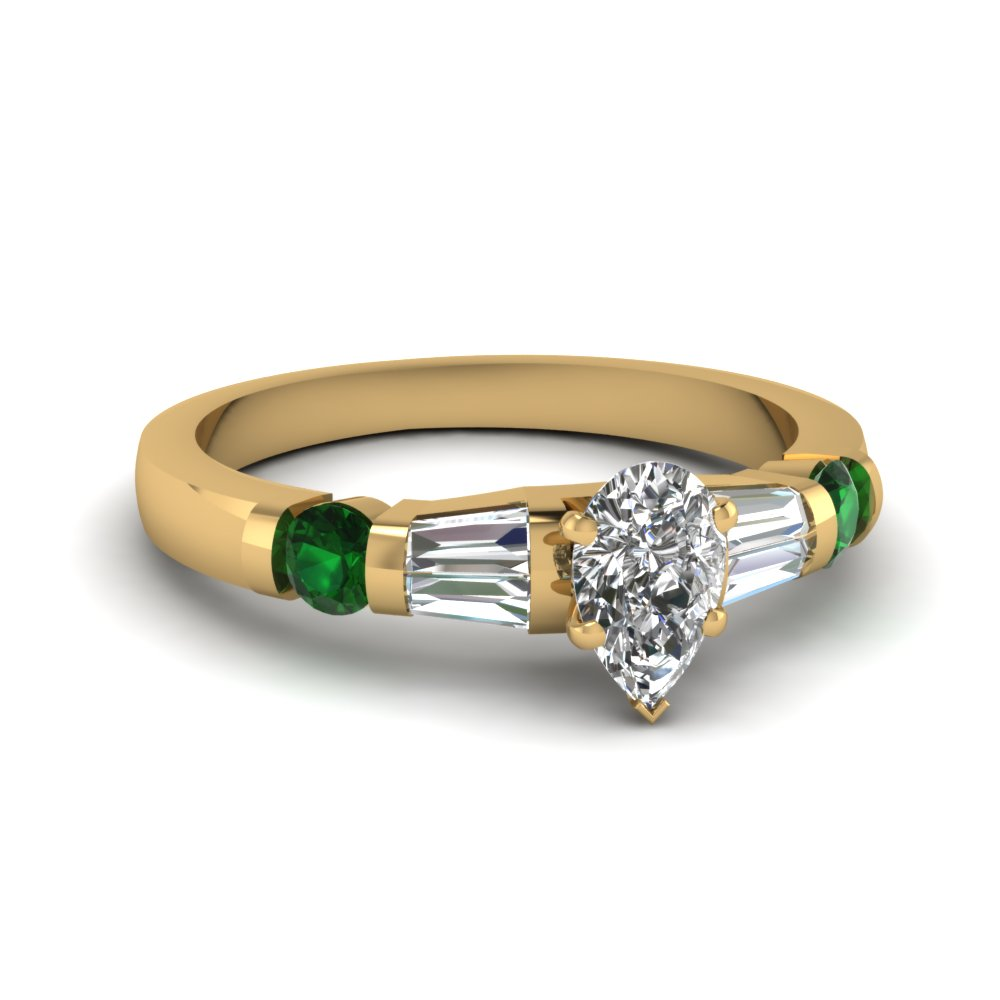 Bar Set Tapered Baguette Emerald Ring