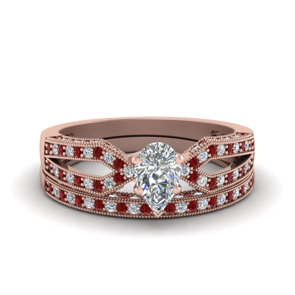 Pear Shaped Diamond Bridal Set Antique With Ruby In 14K Rose Gold