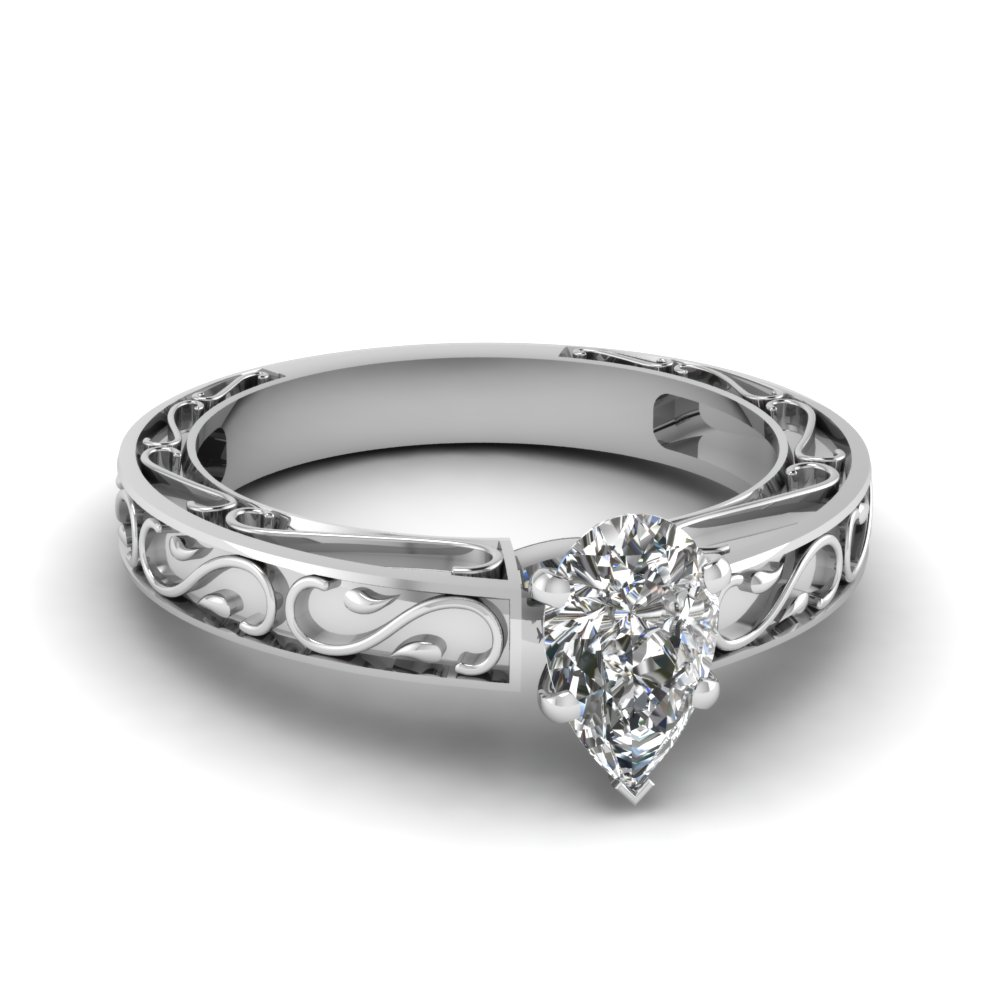carved pear diamond solitaire engagement ring in FDENS3590PER NL WG