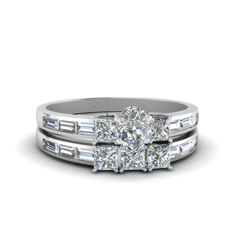 pear shaped diamond channel baguette and princess accent stone wedding set in FDENS1021PE NL WG