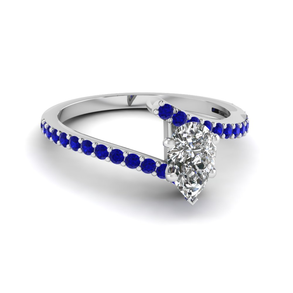 Blue Diamond Rose Shaped White Gold Ring