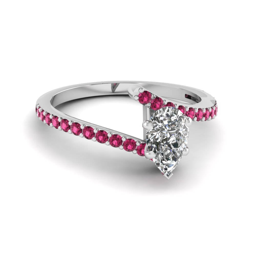 Pink Sapphire Bypass Engagement Ring