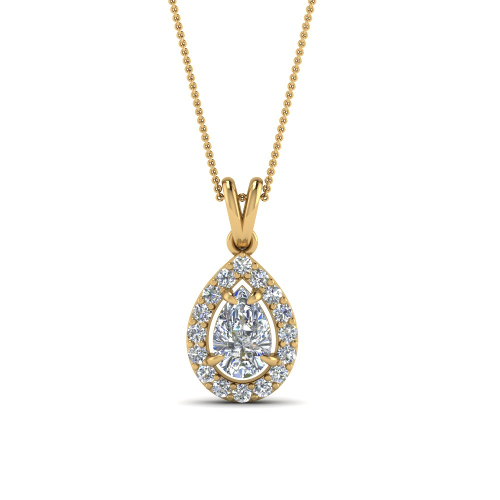 halo pear diamond pendant in FDPD1188PE NL YG