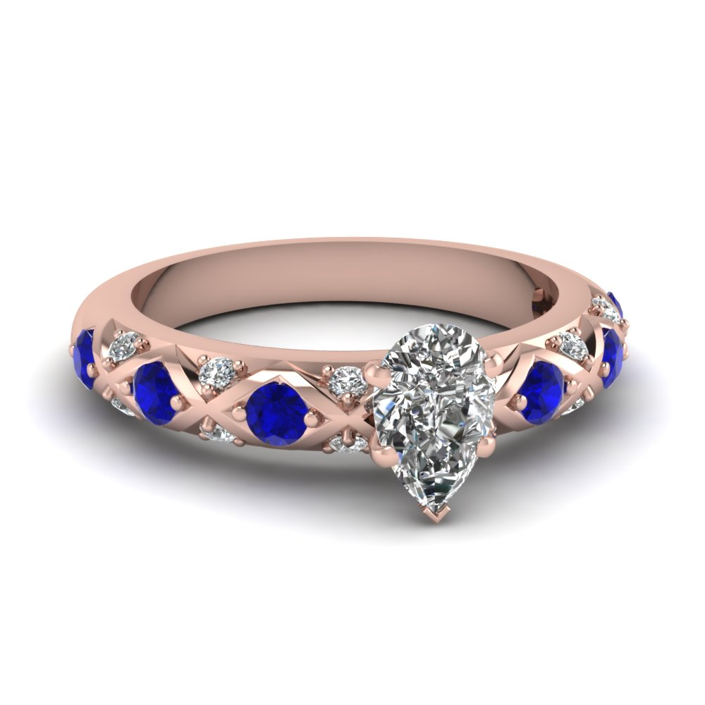 pear shaped diamond cross band side stone engagement ring with blue sapphire in 14K rose gold FDENS1482PERGSABL NL RG