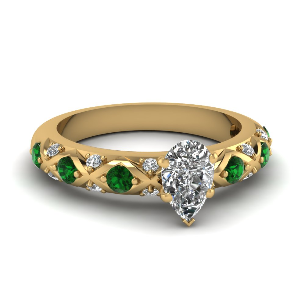 cross design pear shaped pave diamond engagement ring with emerald in FDENS1482PERGEMGR NL YG