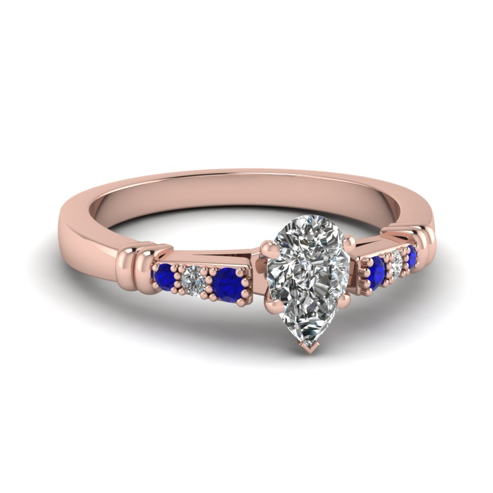 pave bar set pear shaped diamond engagement ring with sapphire in FDENS363PERGSABL NL RG