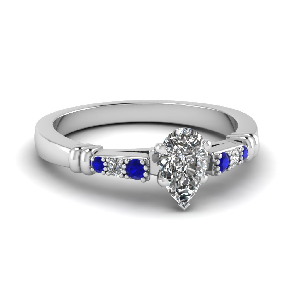 pave bar set pear shaped diamond engagement ring with sapphire in FDENS363PERGSABL NL WG