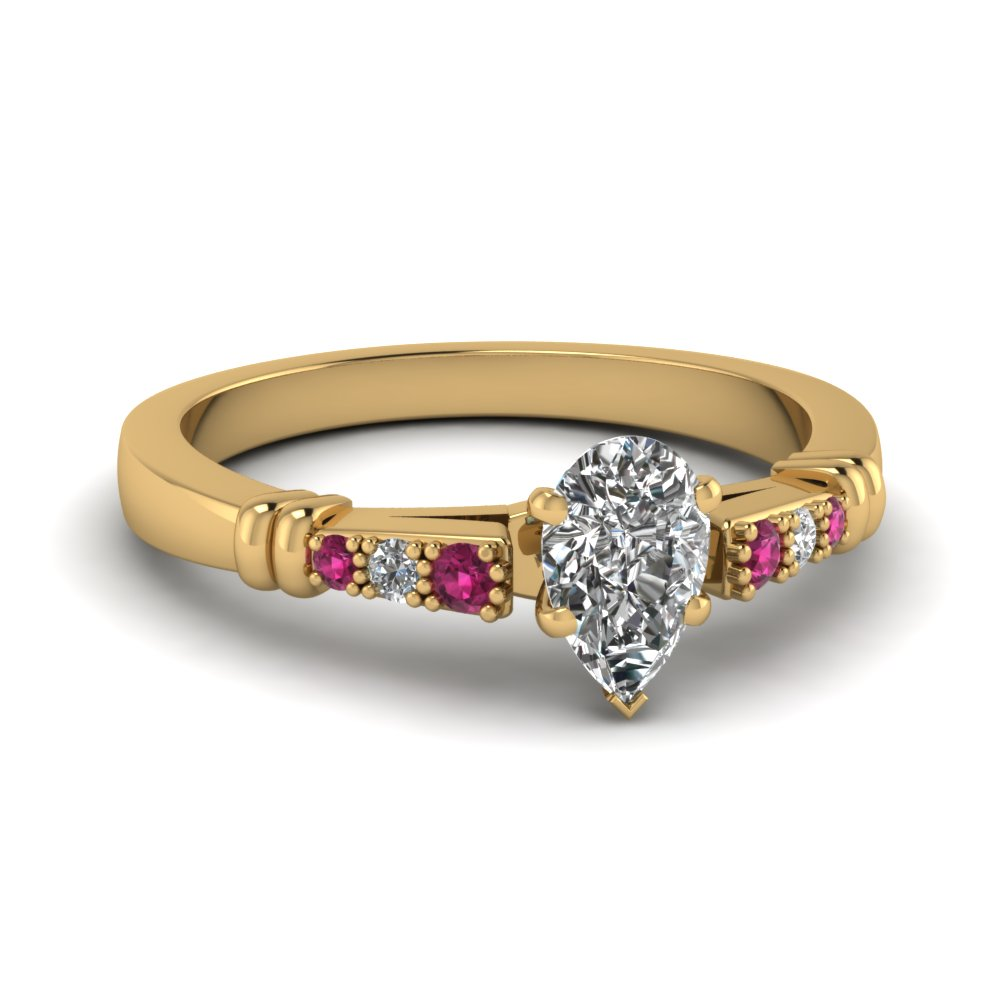 pave bar set pear shaped diamond engagement ring with pink sapphire in FDENS363PERGSADRPI NL YG