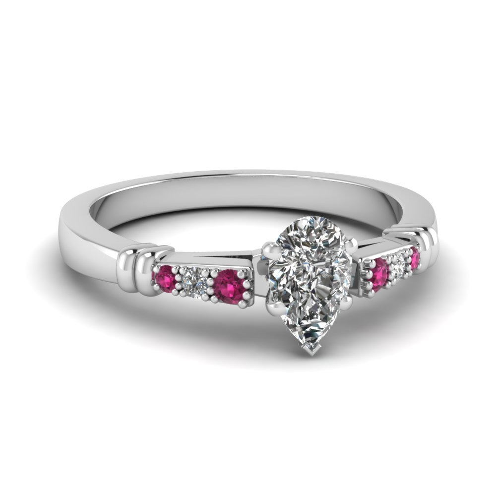 pave bar set pear shaped diamond engagement ring with pink sapphire in FDENS363PERGSADRPI NL WG