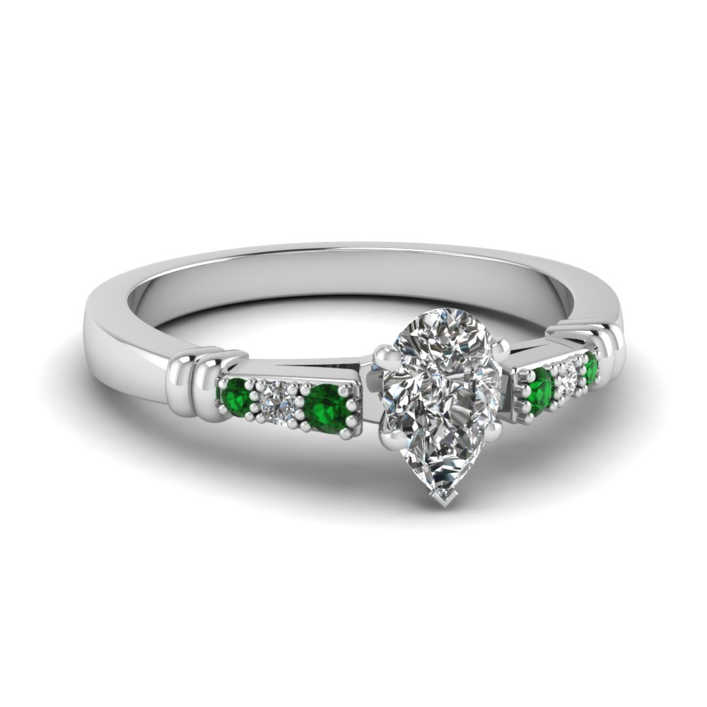 pave bar set pear shaped diamond engagement ring with emerald in FDENS363PERGEMGR NL WG