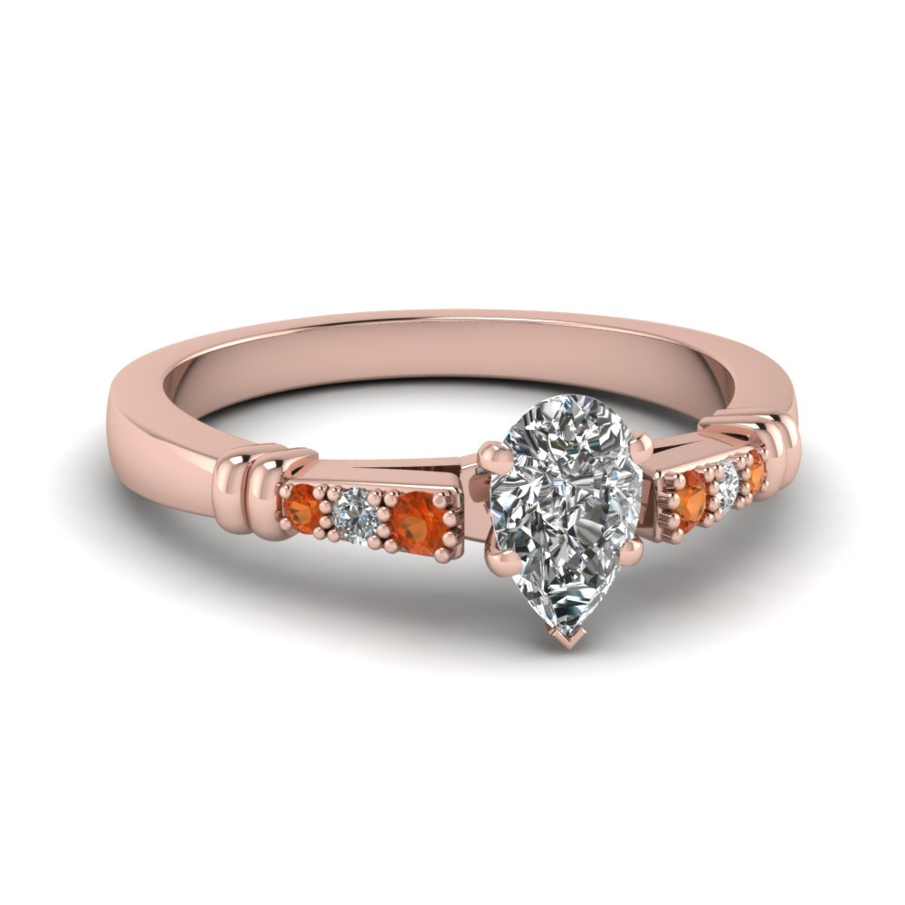 pave bar set pear shaped diamond engagement ring with orange sapphire in FDENS363PERGSAOR NL RG