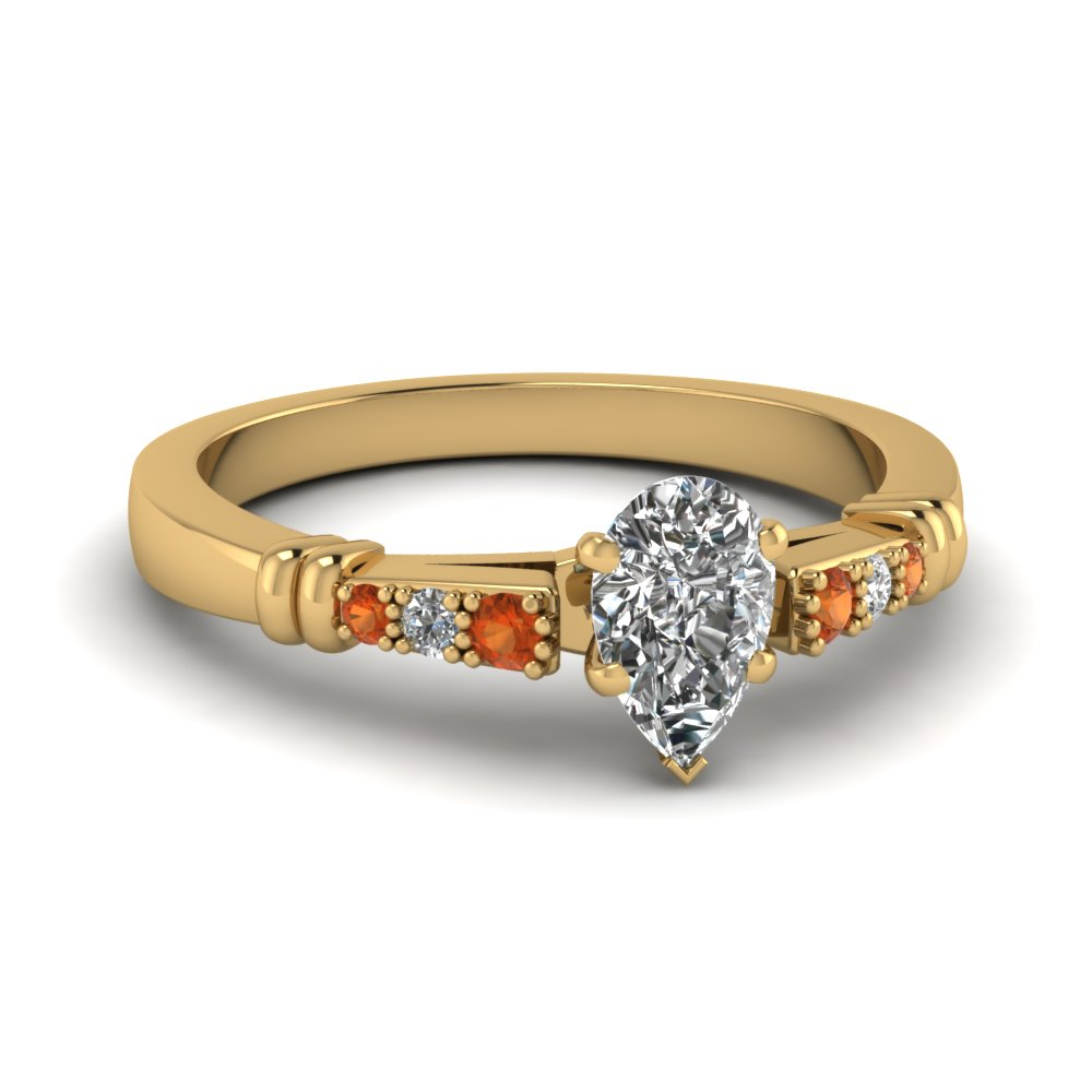 pave bar set pear shaped diamond engagement ring with orange sapphire in FDENS363PERGSAOR NL YG