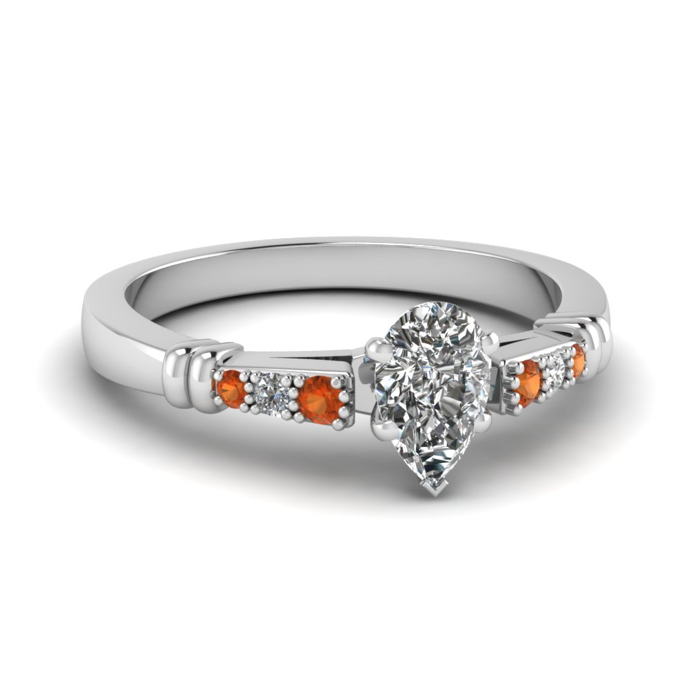 pave bar set pear shaped diamond engagement ring with orange sapphire in FDENS363PERGSAOR NL WG