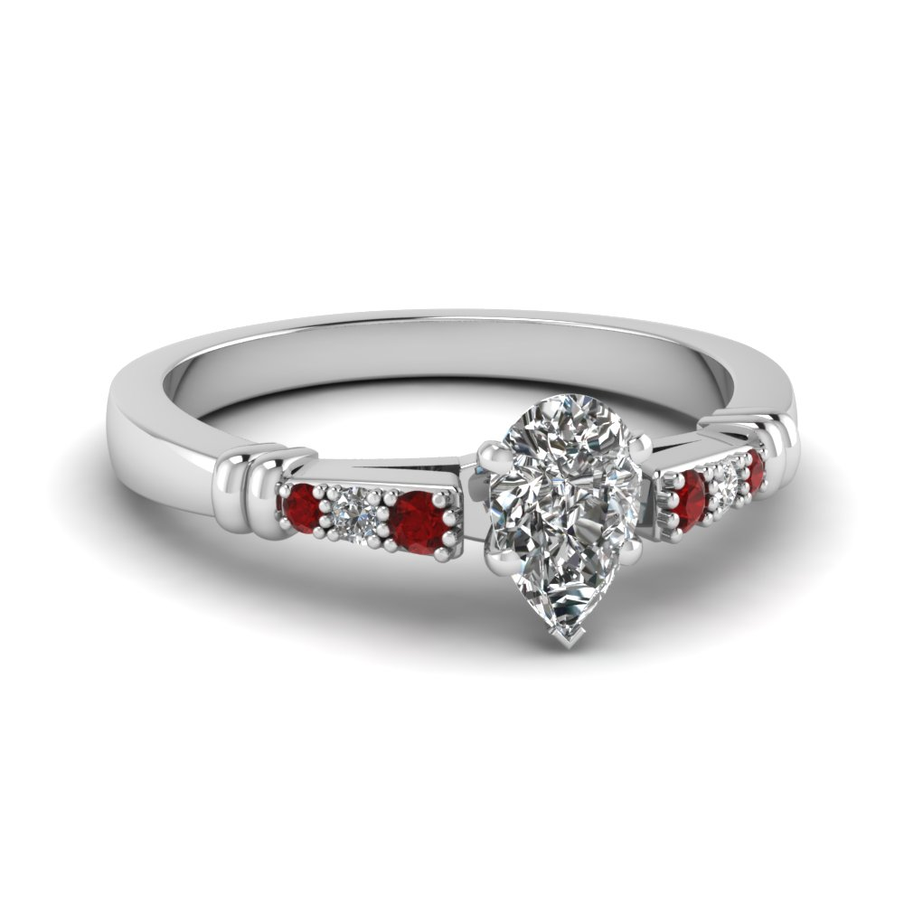 pave bar set pear shaped diamond engagement ring with ruby in FDENS363PERGRUDR NL WG