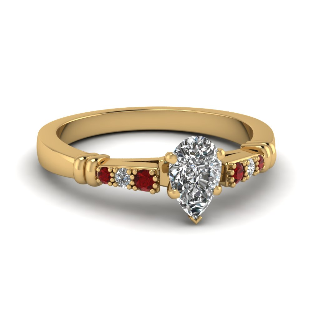 pave bar set pear shaped diamond engagement ring with ruby in FDENS363PERGRUDR NL YG
