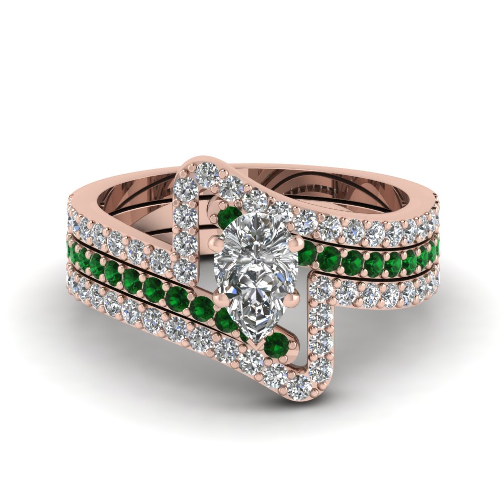 Crossover Pear Diamond Trio Wedding Ring Set With Emerald In 14k